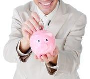 银行生意人货币贪心节省额 库存图片