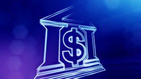 银行的美元的符号和象征 光亮微粒财务背景  3D与景深的圈动画, bokeh 向量例证