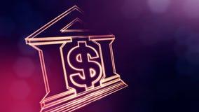 银行的美元的符号和象征 光亮微粒财务背景  3D与景深的圈动画, bokeh 影视素材