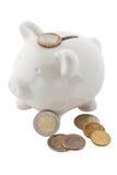 银行硬币欧元查出的贪心白色 库存照片