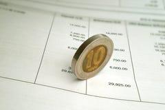 银行硬币语句 免版税库存图片