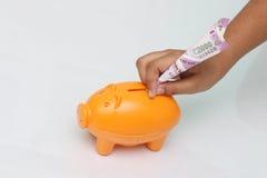 银行票据贪心放置的节省额 库存照片