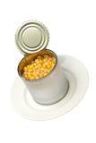 银行罐装玉米被开张的牌照白色 免版税库存图片
