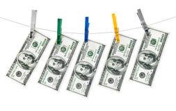 银行美元吊附注线程数 库存照片