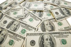 银行美元批次附注分散的表 免版税库存照片