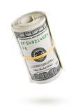 银行美元被扭转的附注卷 库存图片