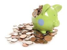 银行英国硬币捣毁的货币贪心 免版税库存图片