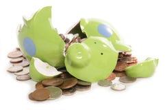 银行英国硬币捣毁的货币贪心 库存图片