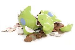 银行英国硬币捣毁的货币贪心 图库摄影