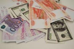 银行钞票美元,欧元,卢布 免版税库存图片