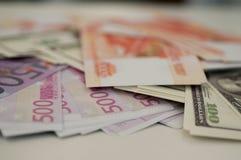 银行钞票美元,欧元,卢布 库存图片