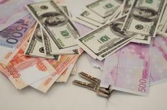银行钞票美元,欧元,卢布 图库摄影