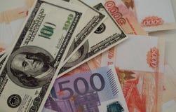 银行钞票美元,欧元,卢布 库存照片