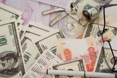 银行钞票美元,欧元,卢布 免版税图库摄影