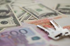 银行钞票美元,欧元,卢布 免版税库存照片