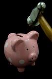 银行锤子贪心粉红色 免版税库存图片