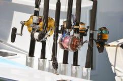 铸件和锭床工人渔卷轴特写镜头 免版税库存图片