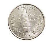 铸造在美元四分之一 库存图片