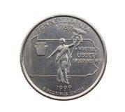 铸造在美元四分之一 免版税库存图片