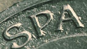 铸造的西班牙或西班牙英国说明的在欧洲硬币 超级宏观射击 影视素材