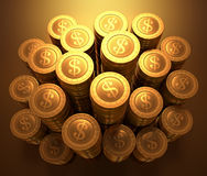 铸造美元欧元金子 免版税库存照片