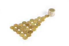 铸造金钱,泰国硬币金钱,硬币金钱增量 库存照片