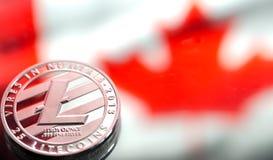 铸造litecoin,以加拿大旗子为背景,概念o 库存照片