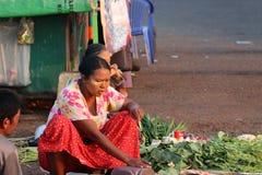 铺布料的鱼和菜的摊贩卖在路的产品在仰光 库存照片