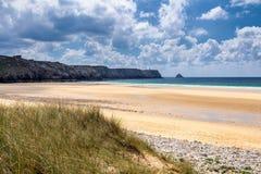 铺沙与海滩草的海滩的道路 对宽含沙beache的方式 库存图片