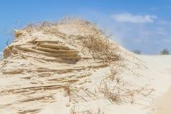 铺沙与蓝天的风完成的结构在背景中 免版税库存图片