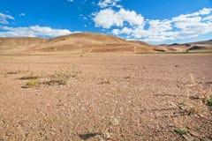 铺沙在沙漠谷的距离的小山与旱田的在烧焦的太阳下 免版税库存照片