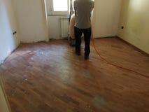 铺沙的木条地板 免版税库存图片