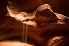 铺沙落从在槽孔峡谷的波浪砂岩 库存图片