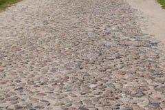 铺石渣路、各种各样的种类沙子和石头  库存照片
