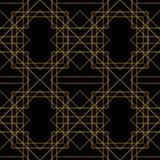 铺磁砖与金黄装饰品的传染媒介样式在黑背景 向量例证
