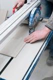 铺磁砖切割机细节 免版税库存照片