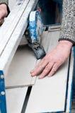 铺磁砖切割机细节 免版税库存图片