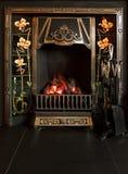 铺磁砖的壁炉 免版税库存图片