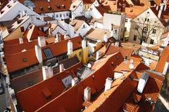 铺磁砖的屋顶在布拉格,捷克共和国 免版税库存图片