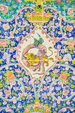 铺磁砖的装饰, Golestan,德黑兰波斯艺术  免版税库存照片