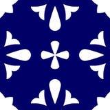 铺磁砖靛蓝色和白色装饰地垫传染媒介样式 免版税图库摄影
