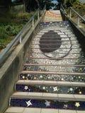 铺磁砖马赛克Moraga街台阶,旧金山, 2 免版税库存照片