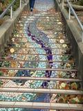 铺磁砖马赛克Moraga街台阶,旧金山, 4 库存照片