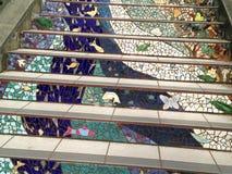铺磁砖马赛克Moraga街台阶,旧金山, 5 库存照片