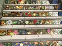 铺磁砖马赛克Moraga街台阶,旧金山, 7 免版税库存照片