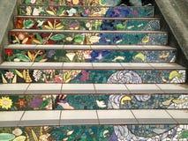 铺磁砖马赛克Moraga街台阶,旧金山, 8 库存图片