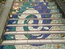铺磁砖马赛克Moraga街台阶,旧金山, 9 免版税库存图片