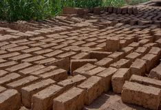 铺路石或砖,手工制造被暴露在太阳烘干 免版税库存图片