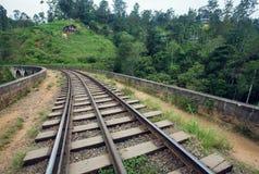 铺铁路在与绿色斯里兰卡或印度的森林在小山下和村庄的美好的热带风景 免版税库存图片