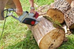 链剪切锯木头 免版税库存照片